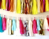 Vintage Inspired Cotton Candy Aqua and Pink 27 Sparkle & Shine Tissue Tassel Garland