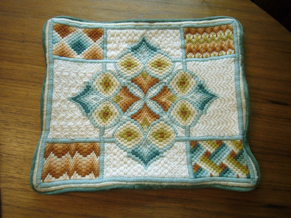 TREASURY ITEMS-1 Bargello Pillow Cover in Teal, Olive & Terracotta AND 1 Needlepoint Panel - Hot Pink and Olive Tulips