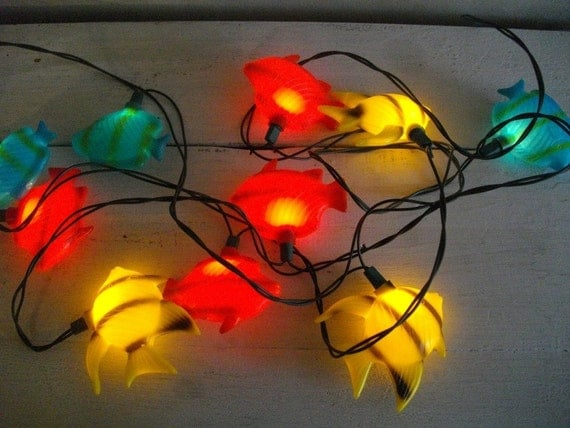 Vintage string fish patio lights for Fish string lights