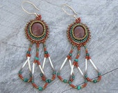 Lake Superior Agate Cabochon and Porcupine Quill Earrings - On Sale