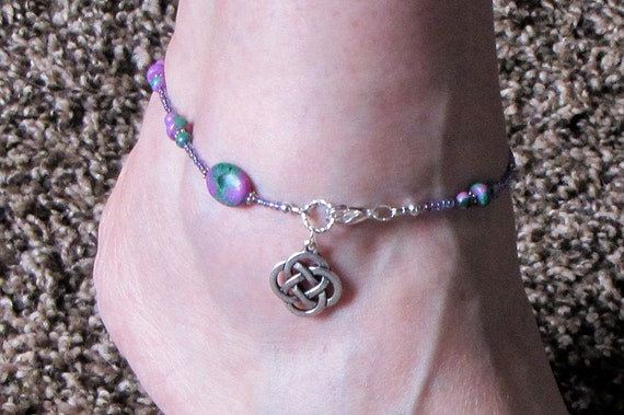 Celtic Ankle Bracelet - Green Purple and Silver - Zoisite