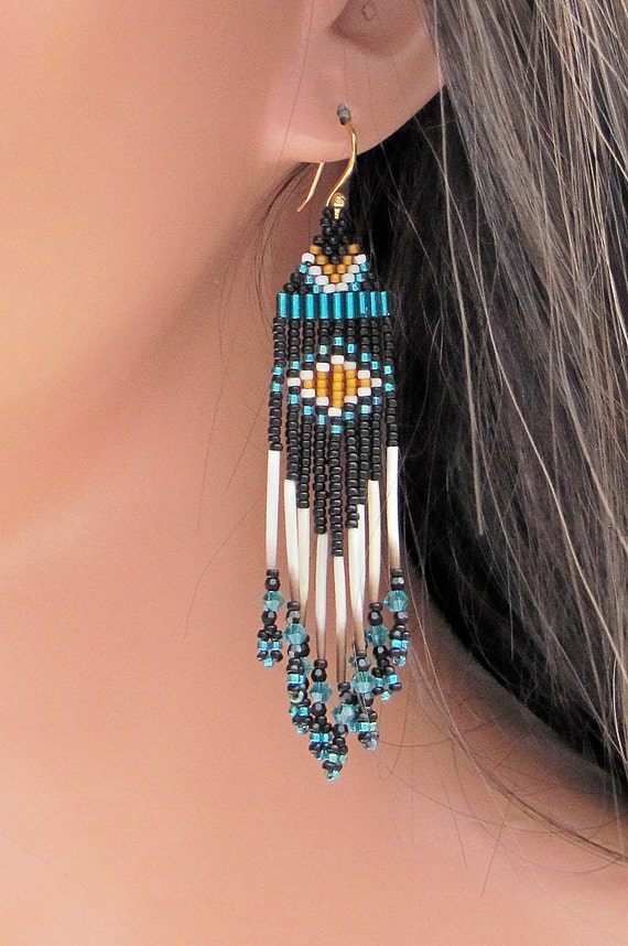 Porcupine Quill Earrings - Black with Teal and Brown