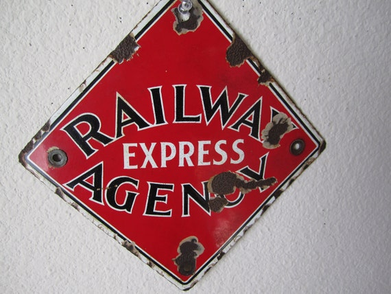 RESERVED Railway Express Agency Advertising Sign Vintage