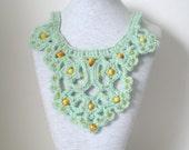 Mint Green Crochet Bib Necklace Handmade OOAK