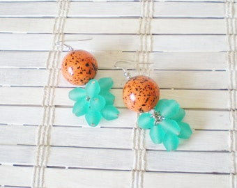 Tangerine & Seafoam Green Beaded Earrings OOAK