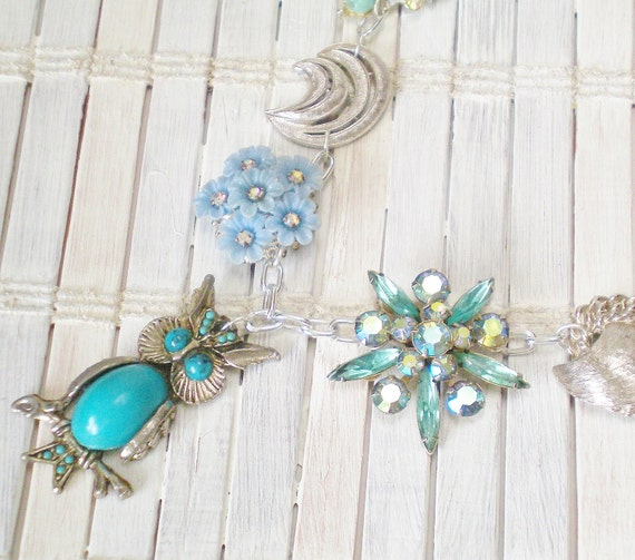 Turquoise Blue Owl Statement Necklace Eco Chic by RetroRevivalBoutique