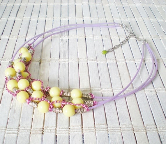 Yellow Bead Statement Necklace Spring Fashion Pastel