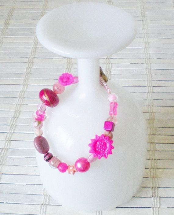 Hot Pink Beaded Bracelet OOAK
