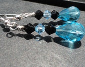 Black and Blue Crystal Earrings