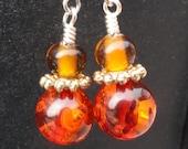 Amber Firelight Earrings