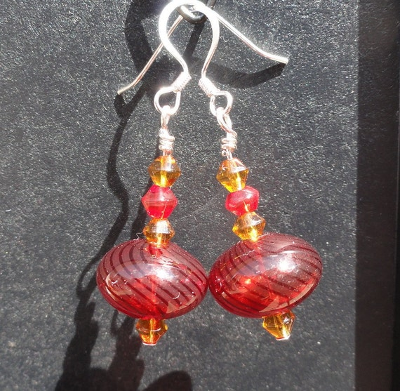 Gryffindor Red and Gold Earrings