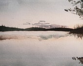Original Watercolor Landscape - Boundary Waters Sunrise