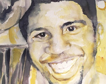 Original Watercolor Portrait - Magic Johnson