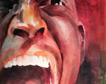 Original Watercolor Portrait - Kevin Garnett Scream