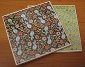BIRDS & BUGS - Ceramic Coasters - set of 4