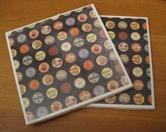 MILK CAPS - Handmade Ceramic Coasters - set of 4