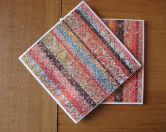 KRINKLED STRIPES - Ceramic Coasters - set of 4