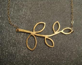 Gold Filled Leaf Branch Necklace
