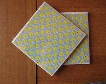 LITTLE YELLOW BIRDIES - Ceramic Coasters - set of 2