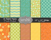 Fresh Picked Papers Download -Digital Scrapbook Papers & Backgrounds for Personal and Commercial Use