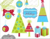 Christmas Clipart Instant Download - Trees, Ornaments & More in cute digital clip art for Personal and Commercial Use