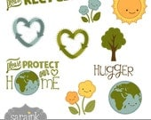 Eco-Cute Clipart Download - Recycling graphics and earth friendly messages - Earth Day, Eco-friendly and commercial-free use