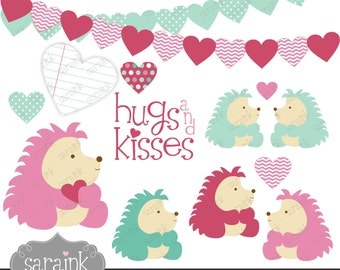 Valentines Day Clip Art Hedgehog Hugs Clipart Download - VDay Clipart for Personal and Commercial Use Digital clip art