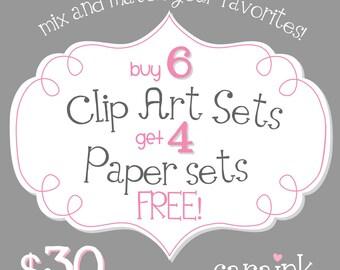 Six Clip Art Sets and Four Paper Sets - a Digital Artwork Bundle