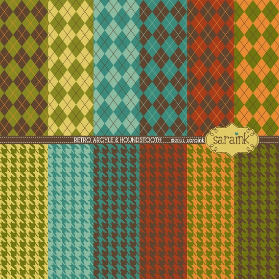 Digital Papers Download - Argyle & Houndstooth Printable Papers - for Commercial or Personal Use