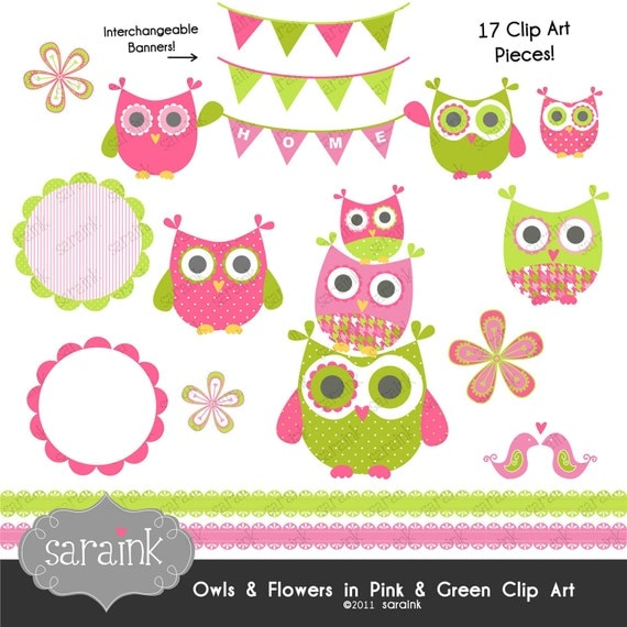 Owl and Flower Clipart Download - Pink & Lime Green - Personal and Commercial Use Digital clip art