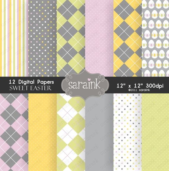 Easter Papers Download - Sweet Easter Scrapbook Papers for Personal and Commercial Use