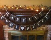 Wedding Banner Happily Ever After Sign Garland Black and Silver Reception Bridal Shower (W56)