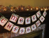 Merry Christmas Banner Red and Green Garland Sign Home Decor Photo Prop (CH16)
