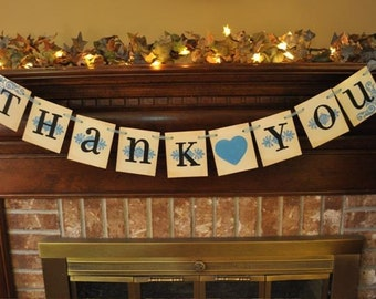 Wedding Banner Thank You Word Sign Photo Prop in Custom Bride Groom Colors (W76)