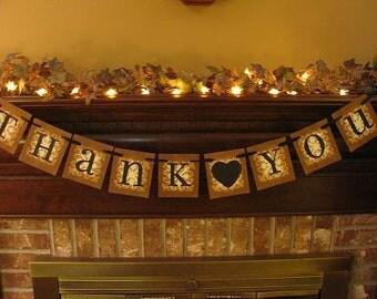 Wedding Banner Thank You  Garland Sign Wedding Photo Prop Black Heart Can Custom Colors (W28)