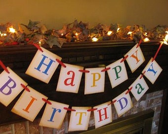 Happy Birthday Banner Primary Colors Party Decoration Photo Prop Sign Garland (HB3)