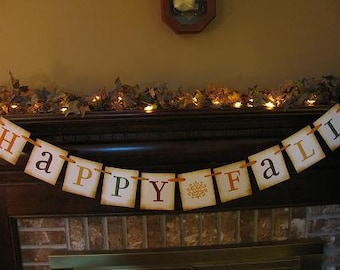 Fall Banner Autumn Garland Sign Happy Fall Beautiful Fall Harvest Colors (S3)