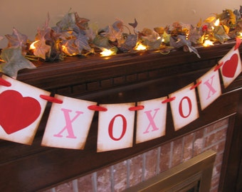 Valentine Banner XOXOX Hugs and Kisses Pink and Red Sign Garland Photo Prop (V1)