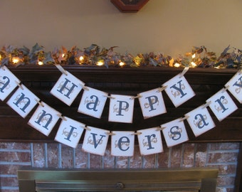 Wedding Banner Happy Anniversary Golden Anniversary 50th Garland Sign in Charcoal Gray and Gold Can Custom Colors (W13)