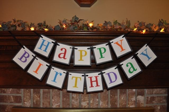 colorful happy birthday banner garland by inspirationalbanners