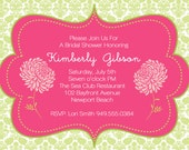 Baby shower invitation- party printable invitation, hot pink and green baby girl chrysanthemums, mums