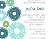 Custom Digital Bridal Shower Invitation-  teal, blue, lime, green turquoise Lace Circles