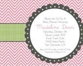 Party Printables, Baby Girl Shower Invitation, Bridal Shower, Chevron Aqua Pink Blue Green Grey Digital