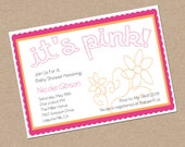 Pink and orange Baby Shower Invitations, hot pink, grey, tangerine ALL COLORS Available