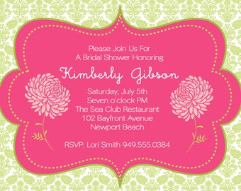 Baby shower invitation- party printable invitation, hot pink and green chrysanthemums, mums