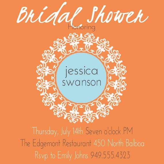 Baby Shower Invitation, Bridal Shower- Orange Turquoise Lace, ANY colors