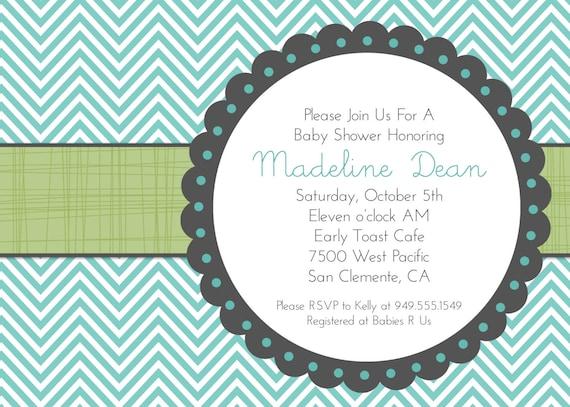 Printable Baby Shower Invitation Boy or Girl, Bridal Shower Invitations, Chevron Aqua Blue Green, Party invitation Grey