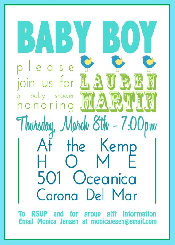 Baby Shower Invitations, Subway Art Baby boy Turquoise Lime green, Birds