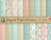 Damask & Dots Digital Scrapbook Paper Pack  No 1 - 12x12
