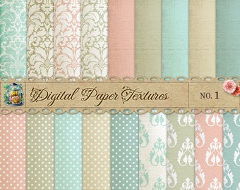 Damask & Dots Digital Scrapbook Paper Pack  No 1 - 12x12